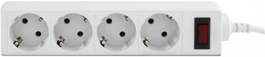 Сетевой фильтр CBR CSF 2450-5.0 White PC, длина кабеля 5 м, 4 розетки, белый цвет, полиэт. пакет, CSF 2450-5.0 White PC