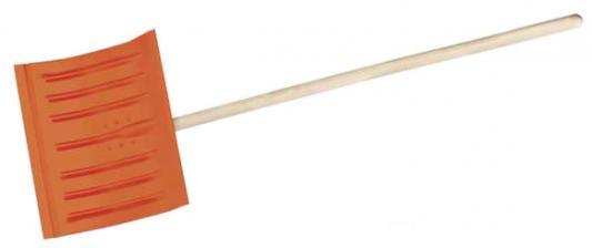 Лопата снеговая стальная с деревянным черенком, 430мм, оранжевая, СИБИН [421841] лопата снеговая finland 1023 ч широкая с черенком