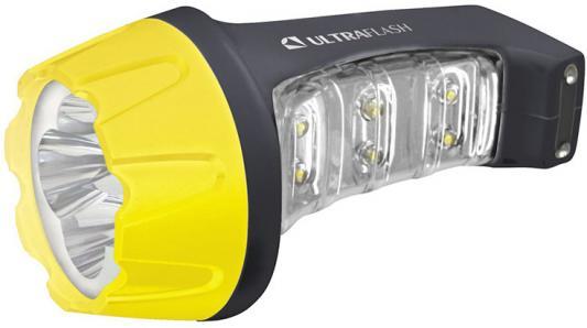 Ultraflash LED3804MS (фонарь аккум 220В, черн /желт, 4+6 LED, 2 режима, SLA, пластик, коробка) цена