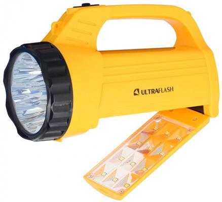Ultraflash LED3819CSM (фонарь акку. 220В желт., 9LED +12SMD LED, 2 реж, SLA, плас., коробка) цена