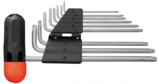 Набор торцевых ключей FIT 64027 звездочки 9шт.crv т10-т50 с отверстием длинные с пласт.т-обр.ручкой asled т10 36mm