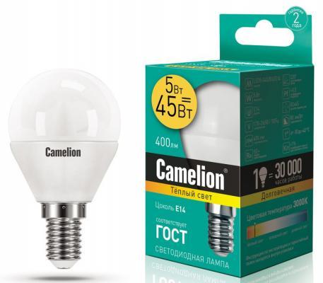 купить Лампа светодиодная шар Camelion LED5-G45/830/E14 E14 5W 3000K 12027 по цене 65 рублей