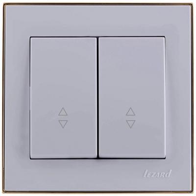 Выключатель LEZARD 703-0226-106 серия скр.проводки Рейн проходной двойной белый с золотой вставкой