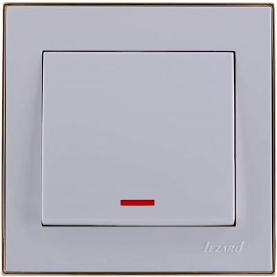 Выключатель LEZARD 703-0226-111 серия скр.проводки Рейн подсветка белый с золотой вставкой