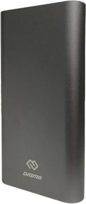 Внешний аккумулятор Power Bank 15000 мАч Digma DG-ME-15000 темно-серый interstep pb15000qc4u внешний аккумулятор 15000 мач