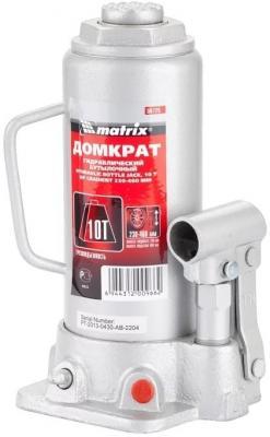 Домкрат MATRIX 50725 гидравлический бутылочный 10 т h подъема 230–460мм master домкрат гидравлический бутылочный matrix 8т 230 457мм master 50723