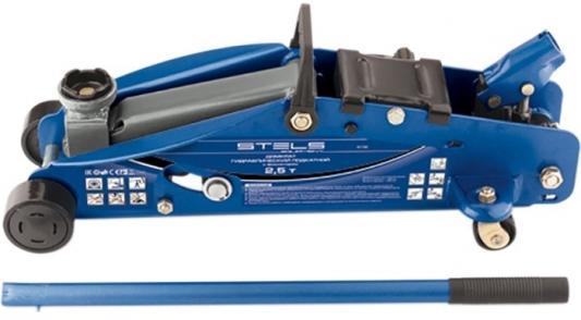 Домкрат STELS 51132 гидравлический подкатной с фиксатором 2.5 т safety pin 140-385мм в кейсе