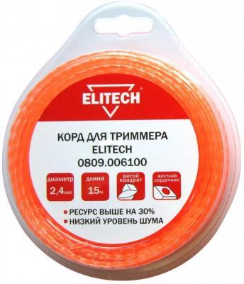 Леска для триммеров ELITECH 809,0061 2.4мм 15м би-материал витой квадрат блистер леска для триммеров армированная 2 5мм 15м витой квадрат