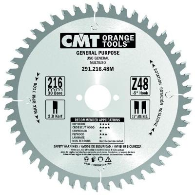 Диск пильный 216x30x2,8/1,8 -5° 15° ATB Z=48 291.216.48M CMT, шт пильный диск construct 305х30 мм 48 atb dewalt dt1959
