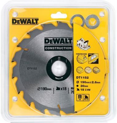 DeWalt DT 1152 Диск пильный Диск пильный,ф190х30х1.7мм,18зуб,д\\диск пил,д\\стр материалов, шт пильный диск construct 305х30 мм 48 atb dewalt dt1959