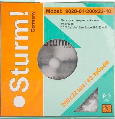 Sturm! 9020-01-200x22-40 Пильный диск, размер:200x22-40, ТВЕРДОСПЛАВНАЯ ПЛАСТИНА ВК8, Sturm!, шт краскораспылитель sturm sg9641