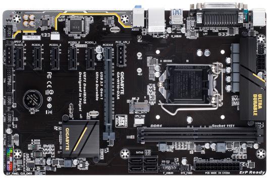 Материнская плата GigaByte GA-H110-D3A Socket 1151 H110 2xDDR4 1xPCI-E 16x 5xPCI-E 1x 4 ATX Retail из ремонта материнская плата gigabyte ga h110tn e socket 1151 h110 2xddr4 1xpci e 4x 2 mini itx retail