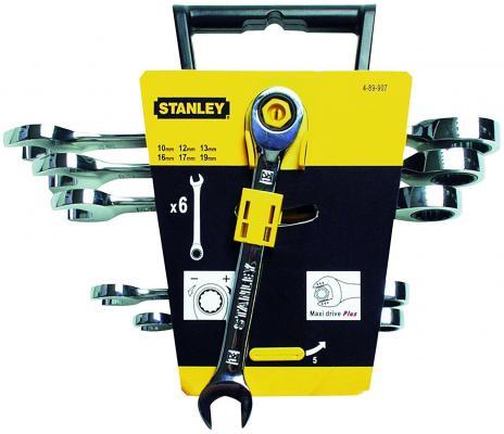 Stanley набор из 6-ти ключей гаечных комбинированных с храповиком в головке накидного ключа (4-89-90, шт набор из 5 ти комбинированных гаечных ключей stanley ratcheting wrench 4 95 659