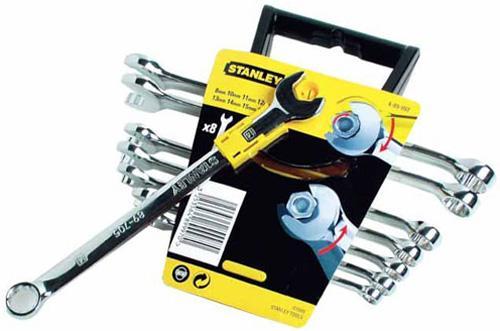 Набор Стенли из 8-ми комбинированных гаечных ключей ACCELERATOR, шт набор из 5 ти комбинированных гаечных ключей stanley ratcheting wrench 4 95 659
