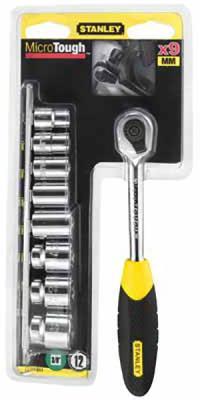 "Stanley рукоятка с храповым механизмом 1/4"" ""microtough"" с торц. головками (11 предметов) (0-94-610), шт stanley 0 94 610 microtough 1 4"