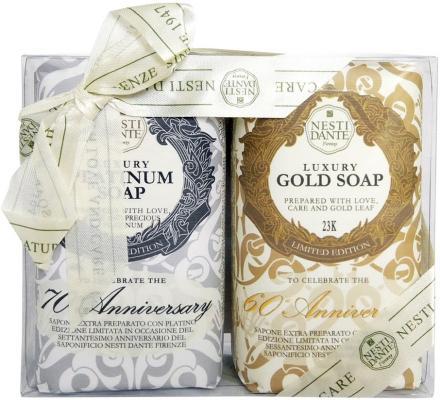 Мыло твердое Nesti Dante Anniversary Platinum & Gold / Юбилейное платиновое + Юбилейное золотое 250 гр 2шт.