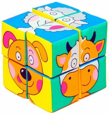 Купить Кубики МЯКИШИ Собери картинку Зверята от 1 года 8 шт, Кубики и стенки