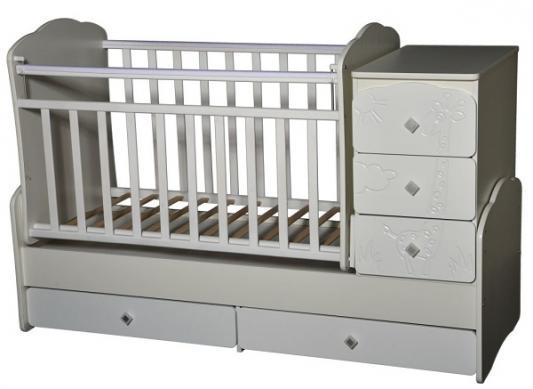 Кроватка -трансформер с маятником Кедр Любаша 1 (жираф/венге-слоновая кость)