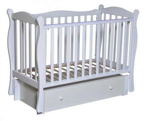 Кроватка с маятником Кедр Любаша 6 (белый)