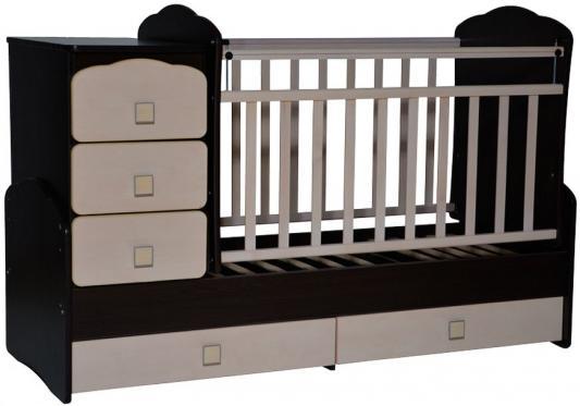 Кроватка с маятником Антел Ульяна 1 (фигруная спинка/венге-клен) кроватка антел ульяна 1 трансформер венге