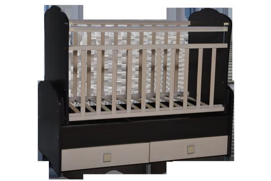 Кроватка с маятником Антел Ульяна 3 (фигурная спинка/венге-клен) кроватка антел ульяна 1 трансформер венге