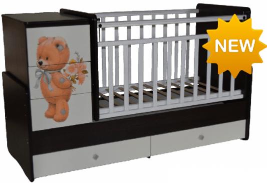 Кроватка с маятником Антел Ульяна 2 (прямая спинка/мишка/венге-белый) кроватка антел ульяна 1 трансформер венге