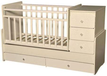 Кроватка с маятником Антел Ульяна 2 (прямая спинка/жираф/слоновая кость) кроватка с маятником sweet baby eligio avorio слоновая кость
