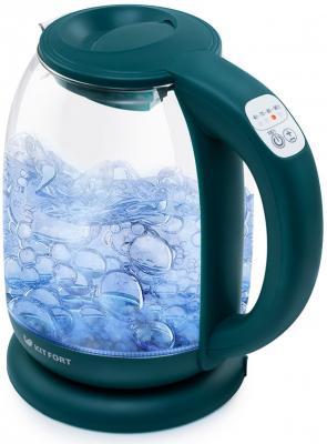 Чайник электрический KITFORT КТ-640-4 2200 Вт изумрудный 1.7 л пластик/стекло чайник электрический kitfort кт 659 2 2200 вт зелёный 1 7 л пластик