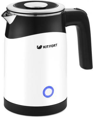 Чайник электрический KITFORT КТ-639 1100 Вт чёрный белый 0.5 л металл/стекло