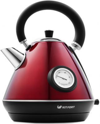 Картинка для Чайник KITFORT KT-644-3 2200 Вт красный чёрный 1.7 л нержавеющая сталь