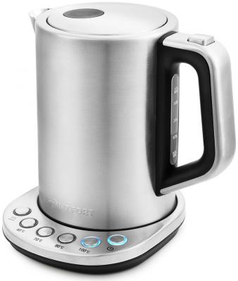 Чайник электрический KITFORT КТ-638 2200 Вт серебристый 1.5 л металл/пластик цена и фото