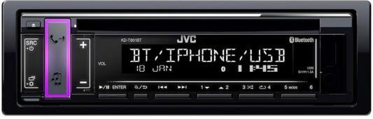 Автомагнитола CD JVC KD-T801BT 1DIN 4x50Вт автомагнитола jvc kd x355