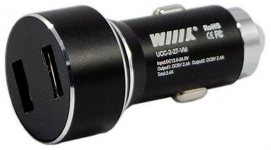 Автомобильное зарядное устройство Wiiix UCC-2-27-VM 2 х USB 2.4А черный цена и фото