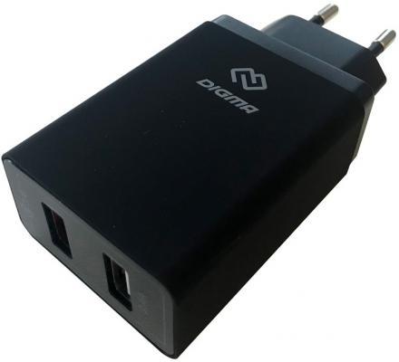 Сетевое зарядное устройство Digma DGWC-2U-QC3.0-BK 5.4А черный сетевое зарядное устройство digma dgwc 2u 3a wg 3 а белый