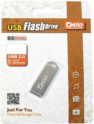 Фото - Флеш Диск Dato 64Gb DS7016 DS7016-64G USB2.0 серебристый usb флешка adata ud310 64gb black aud310 64g rbk usb 2 0 15 мб с 5 мб с