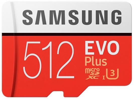 Карта памяти MicroSDXC 512GB Samsung EVO Plus v2 UHS-I U3 + SD Adapter (R100/W90Mb/s) (MB-MC512GA/RU) карта памяти micro sdxc 128gb class 10 samsung evo plus uhs i u3 чтение 100мб c запись 90мб с mb mc128ga ru sd adapter