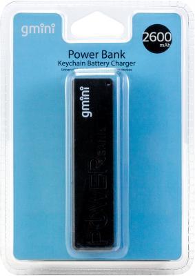 Внешний аккумулятор Gmini GM-PB026-B, 2600mAh, чёрный внешний аккумулятор gmini gm pb026 g 2600mah зелёный