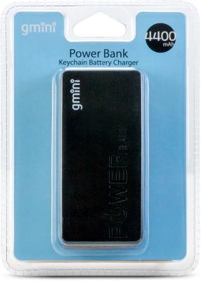 Внешний аккумулятор Gmini GM-PB044-B, 4400mAh, чёрный внешний аккумулятор gmini gm pb026 g 2600mah зелёный