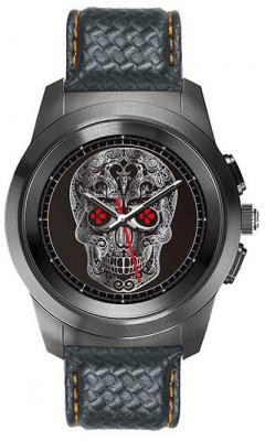 Гибридные смарт часы MyKronoz ZeTime Premium Regular цвет матовый титан, ремешок цвет черный карбон с оранжевой прострочкой