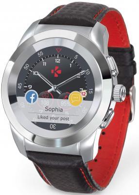 Гибридные смарт часы MyKronoz ZeTime Premium Regular цвет серебро, ремешок цвет черный карбон с красной прострочкой