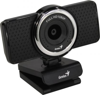 Веб-Камера Genius ECam 8000, black, Full-HD 1080p, swiveling, tripod-ready design, USB, built-in microphone, rotation 360 degree, tilt 90 degree мышь беспроводная genius nx 7010 белый зелёный usb