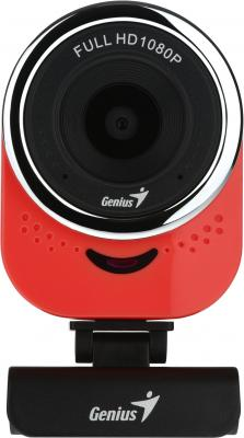 Веб-Камера Genius QCam 6000, red, Full-HD 1080p, universal clip, 360 degree swivel, USB, built-in microphone, rotation 360 degree, tilt 90 degree 70m hdmi 2 0 left angled 90 degree male to female active repeater extender booster coupler adapter 1080p hdtv