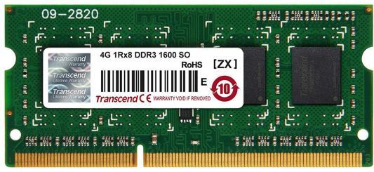 Оперативная память для ноутбука 4Gb (1x4Gb) PC3-12800 1600MHz DDR3 SO-DIMM CL11 Transcend JM1600KSH-4G