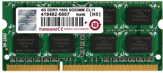 Модуль памяти Transcend 4GB SO-DIMM DDR3, 1600МГц, 2Rx8, 1.5V