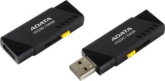 Флеш накопитель 64GB A-DATA UV230, USB 2.0, черный флеш накопитель 16gb a data ud230 usb 2 0 черный