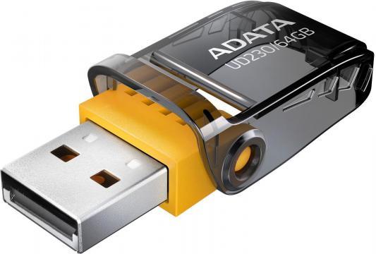 Флеш накопитель 64GB A-DATA UD230, USB 2.0, Черный флеш накопитель 16gb a data ud230 usb 2 0 черный
