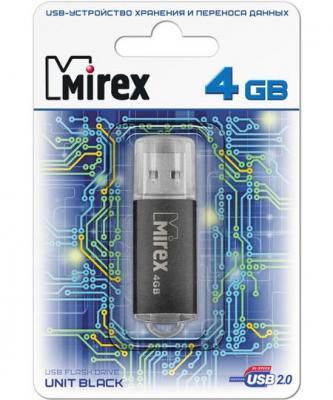 Флеш накопитель 4GB Mirex Unit, USB 2.0, Черный