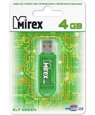 Фото - Флеш накопитель 4GB Mirex Elf, USB 2.0, Зеленый флеш накопитель 64gb mirex elf usb 2 0 синий