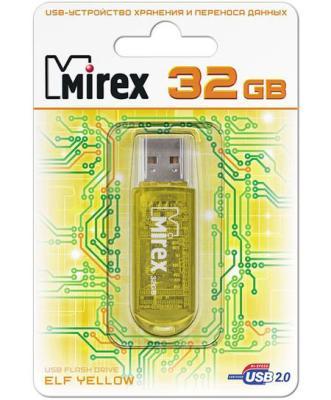 Фото - Флеш накопитель 32GB Mirex Elf, USB 2.0, Желтый флеш накопитель 32gb mirex mario usb 2 0 черный