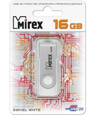 Флеш накопитель 16GB Mirex Swivel, USB 2.0, Белый флеш накопитель 16gb mirex city usb 2 0 синий